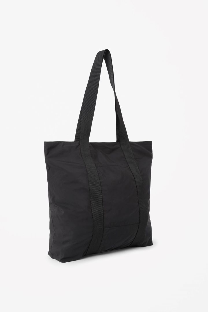 COS image 3 of Soft tote bag in Black