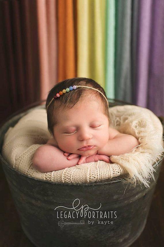 Rainbow tieback newborn girl pearl bead rainbow baby headband photography prop