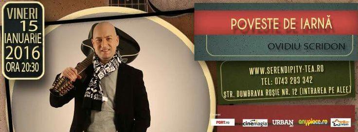 Vineri, 15 Ianuarie, ora 20:30, Poveste de iarnă - Concert Ovidiu Scridon la  Serendipity Tea. Cu multă dăruire, printre versuri şi cântece de iarnă, dar nu numai, alături de muzicuţele sale, de chitara sa, de nelipsitul copăcel de poezii şi cu multă bună dispoziţie. Un eveniment recomandat de VIPStyle.ro. See More >> https://www.facebook.com/events/1745425365681281/