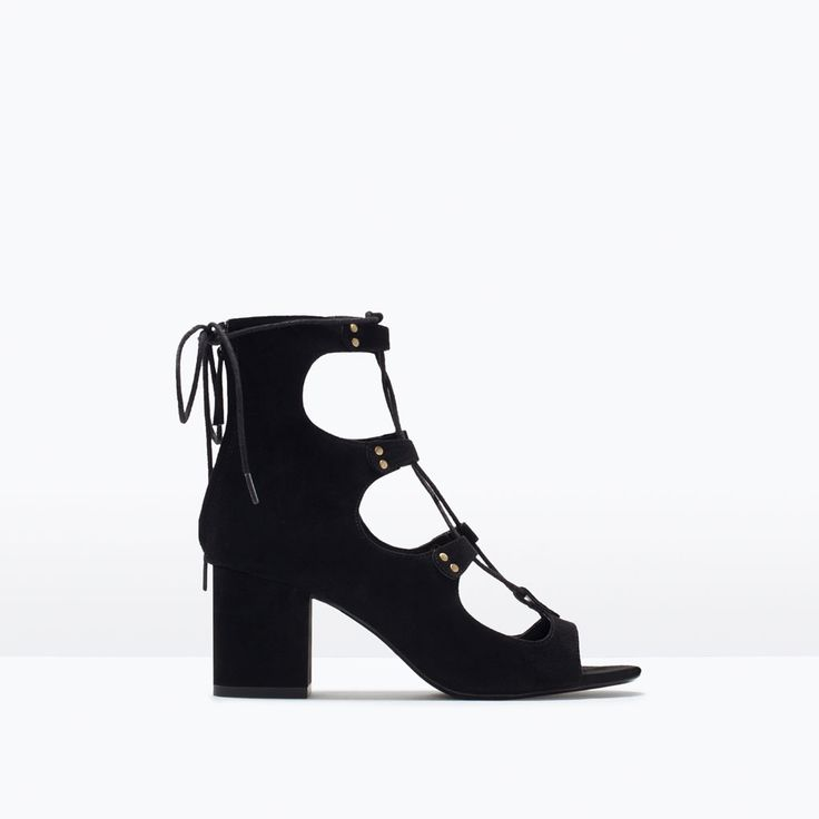 LACE-UP HIGH-HEELED SANDALS-Flat sandals-Shoes-WOMAN   ZARA United States