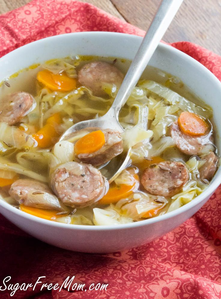 Crock Pot Andouille Sausage Cabbage Soup ( Used: Five cheese brauts, 1 Lg. garlic clove, half Lg. reg. onion, garlic & onion powder, no water, lots of salt, sauted all except carrots before adding to broth)