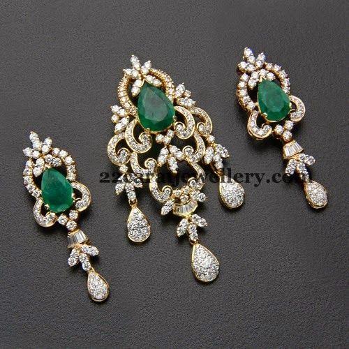 Emeralds Adorned Opulent Pendant Jewelry Diamond