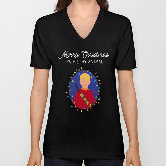 d6e65836 Merry Christmas Ya Filthy Animal V-Neck Shirt by Bubbles & Venom Design Co