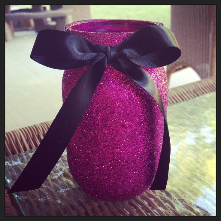 Sassy Hot Pink Glitter Mason Jar for sale! Comment for more info!