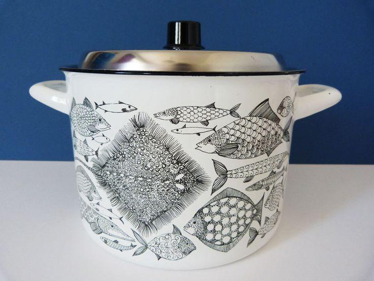 Finel Finland enamel stockpot / saucepan vintage XL by planetutopia on Etsy