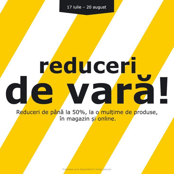 Mai sunt câteva zile în care te poți bucura de o mulțime de produse la preț redus. În perioada 17 iulie - 20 august ai până la 50% reducere la o mulțime de produse, în magazin și online. Produsele sunt disponibile în limita stocului.