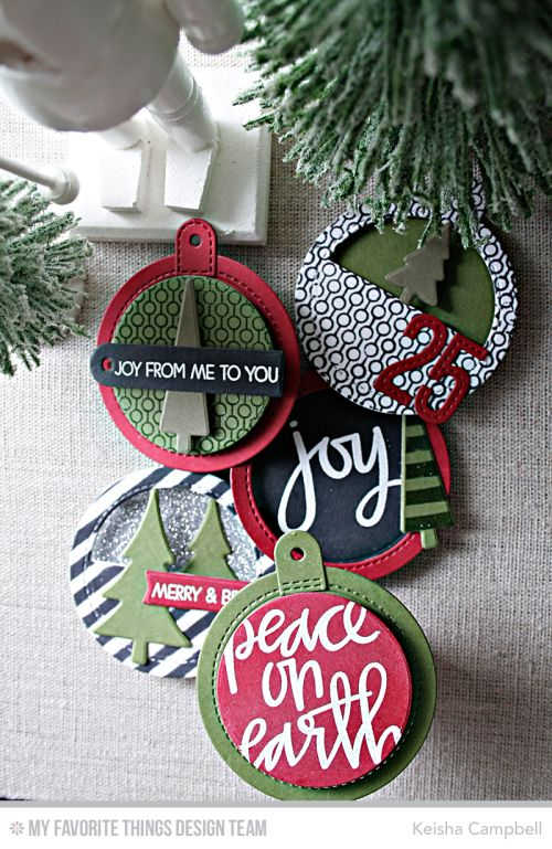 Tag Builder Blueprints 6 Die-namics, Merry Everything Stamp Set, Oh Christmas Trees Stamp Set and Die-namics, Hand Lettered Christmas Stamp Set, Stitched Numbers Die-namics, Diagonal Stripes Stencil, Lined Up Dots Background - Keisha Campbell  #mftstamps