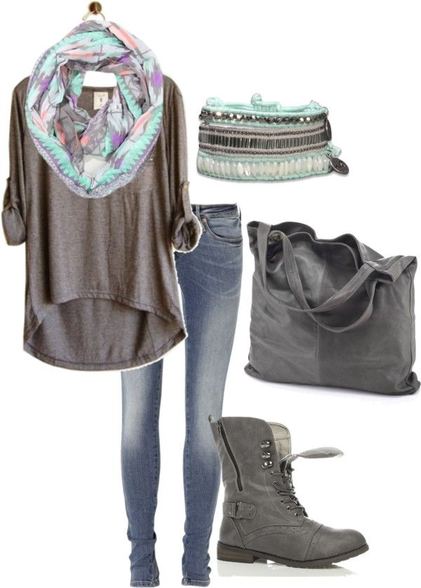 """Grey Top"" by busatorac on Polyvore... I want this top and scarf"
