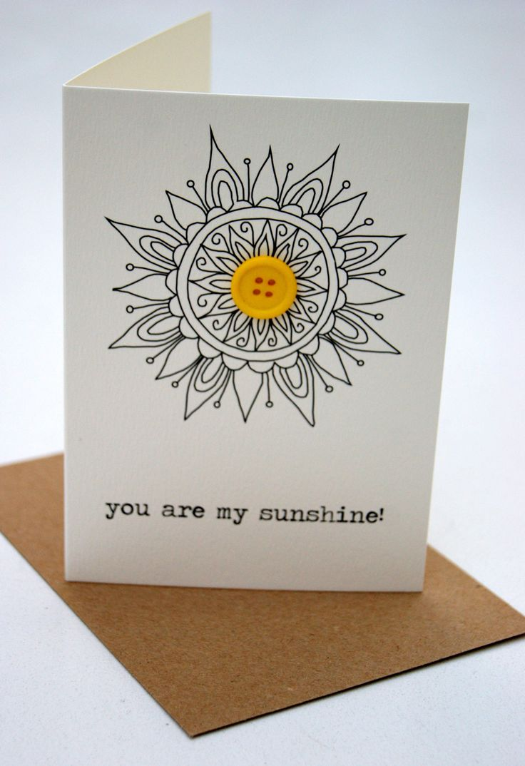 you are my sunshine! (button box greeting card)
