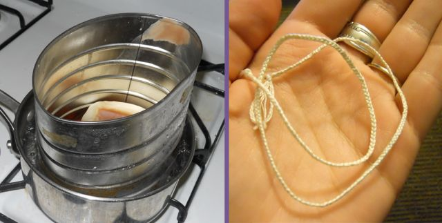 Make your own candle wicks from cotton thread + salt water & a bit of old wax. #DIY #howto