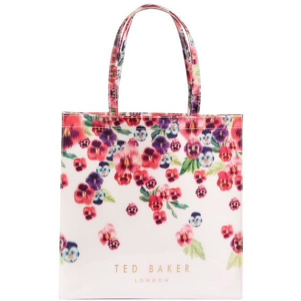 Women's Ted Baker London Large Scatter Pansy Icon Tote ($59) ❤ liked on Polyvore featuring bags, handbags, tote bags, baby pink, foldable tote, white tote bag, tote handbags, white purse and over the shoulder purse