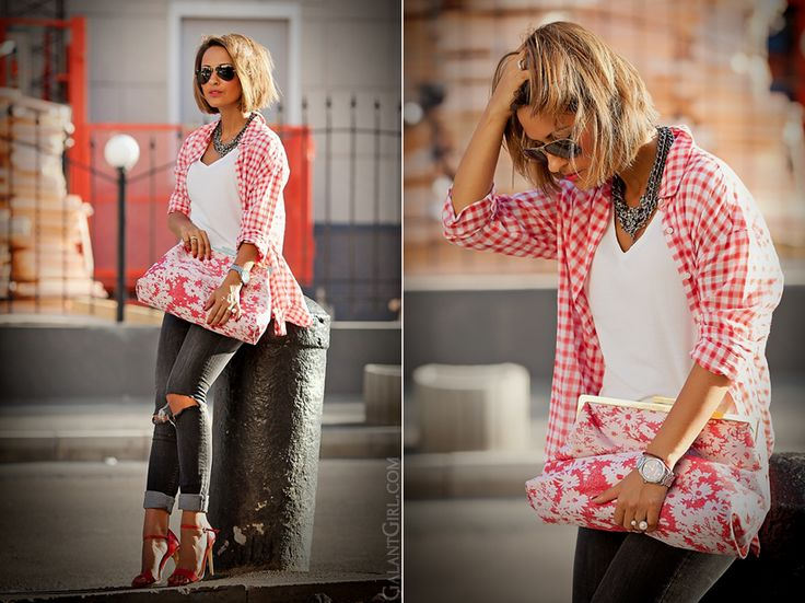 stella mccartney lucia clutch and ripped jeans and checkes shirt look by GalantGirl.com