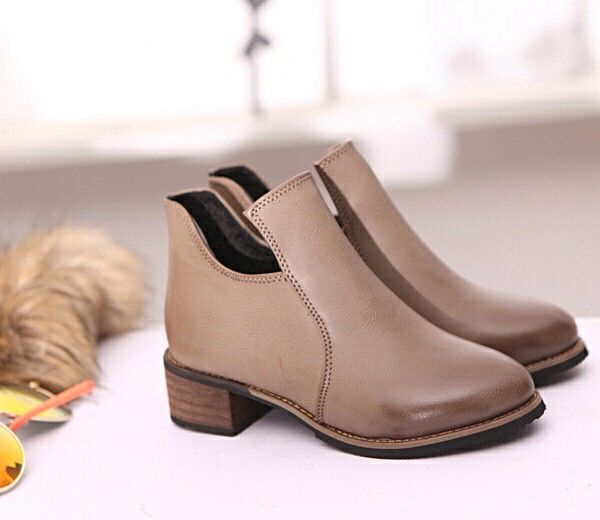$17   Genuine Leather Women Ankle Boots for Women Chelsea Boots Pointed Toe Runway Shoes Woman Bootie Botas Femininas Coffee Color