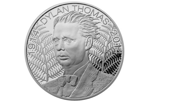 """Dylan's name, meaning """"son of the waves"""", is reflected in the design of the coin, which the Royal Mint say suits his tempestuous character.  """"The waves of Dylan's hair reflect the waves of Dylan's name and of water -  Ferns frame the coin, recalling Dylan Thomas' well-known poem Fern Hill, as well as the Welsh landscape that inspired him."""