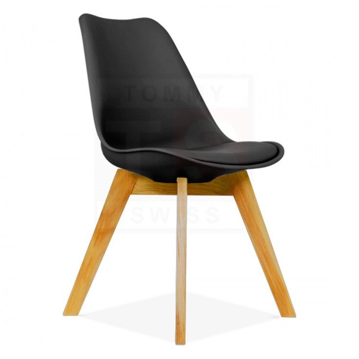 4 Pack - Eames Inspired Eiffel DSW Padded Dining Chair (Black) - Chairs