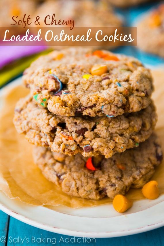 Soft & chewy Loaded Oatmeal Cookies. Sweetened with brown sugar and loaded with butterscotch, M&Ms, and chocolate chunks!