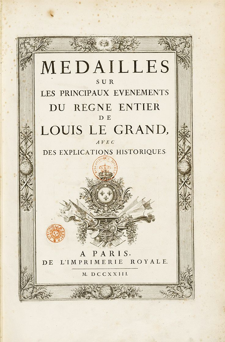 Title page from 'Medailles sur les principaux evenements du regne de Louis le Grand'.