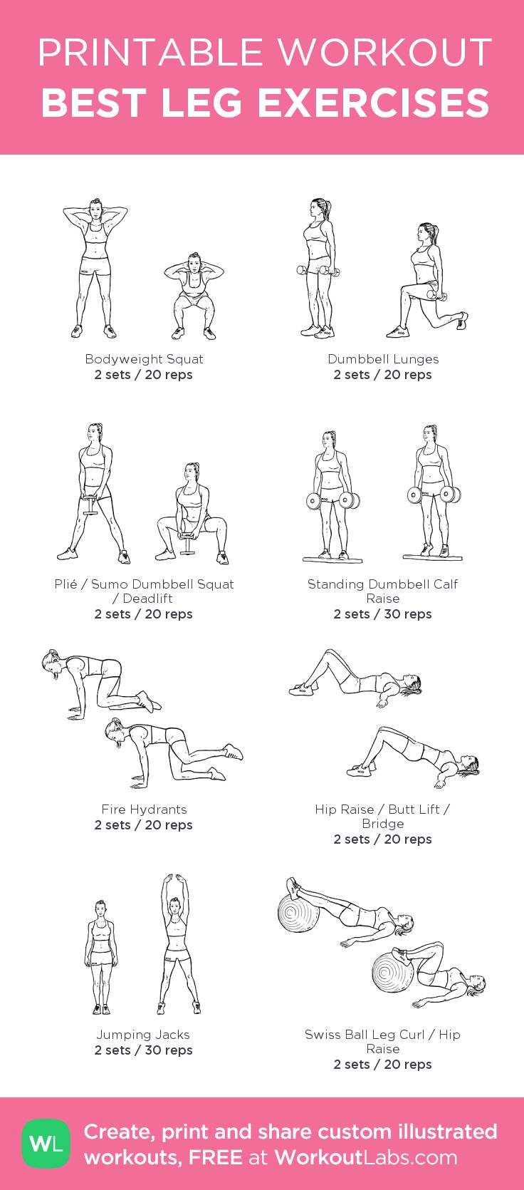 BEST LEG EXERCISES: my custom printable workout by @WorkoutLabs #workoutlabs #customworkout