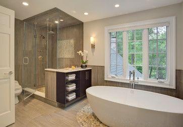 Ridgefield master bath and hall bath contemporary for A r interior decoration llc