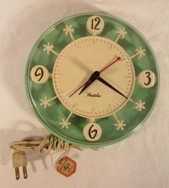 Vintage Westclox Starburst Wall Clock Turquoise White Works 1950s Mid Century Modern Kitchen Wall Clocks Kitchen Wall Clocks Vintage Clock