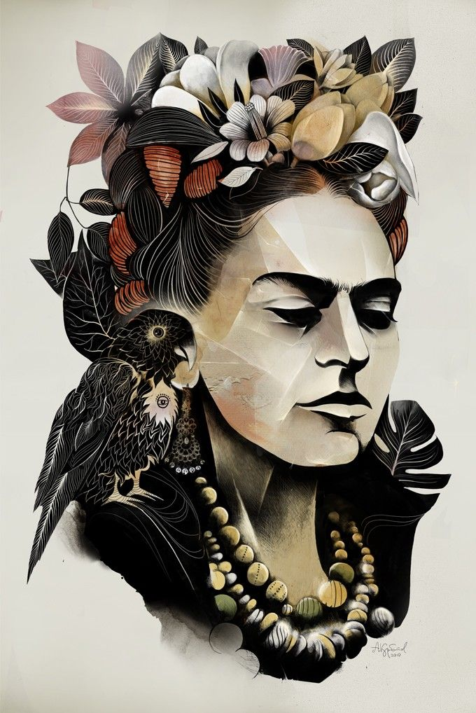 Frida - Alexey Kurbatov . I love how geometric and box like her facial features are....yet still balanced with feminism from the shape of her eyes and her hair pieces.
