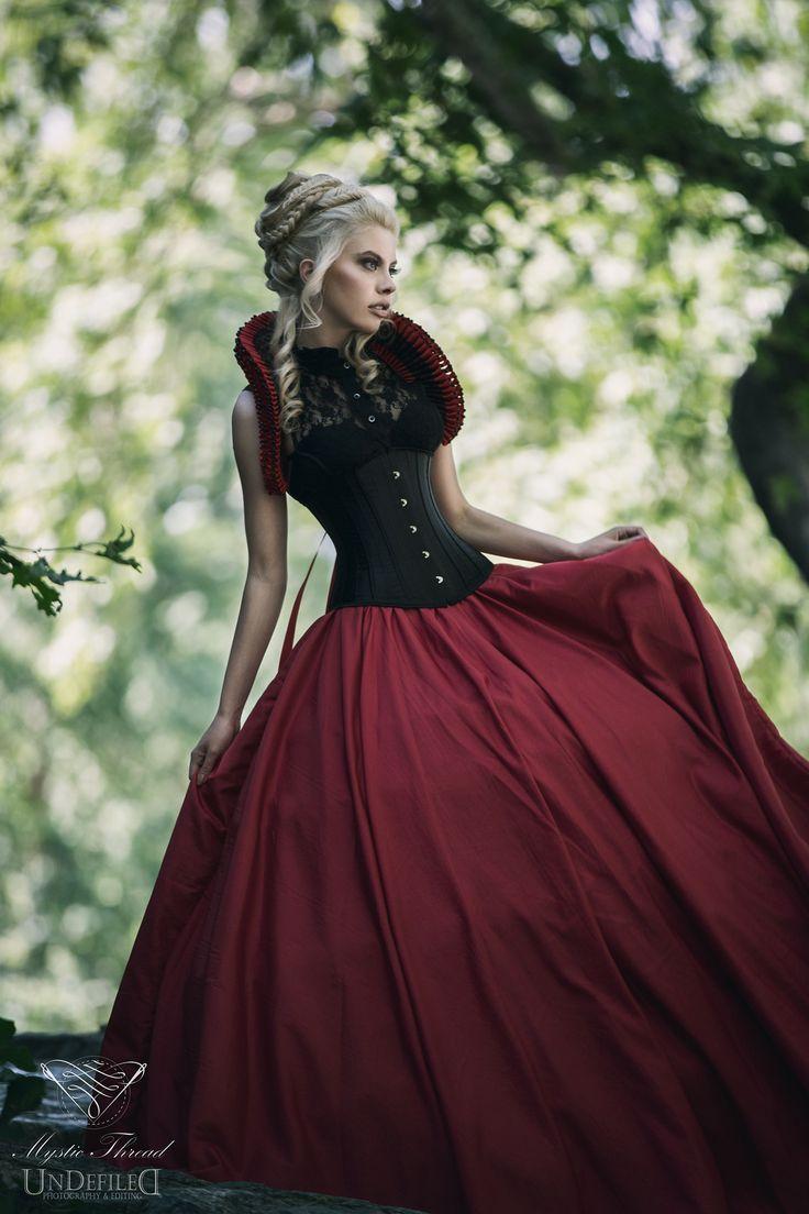 Corset, crinoline skirt,elizabethan collar by Mystic Thread / Model Φαιη Λαιμου /  Photo: Andy Van Rose / Clothes & Accessories: Mystic Thread-www.mysticthread.com / Edit: Undefiled Photography & Editing /  #mysticthread #gothic #victorian #elizabethan #gothicshop #victorianshop #gothicclothes #gothicaccessories #victorianclothes #victorianaccessories #elizabethancollar #elizabethanaccessories