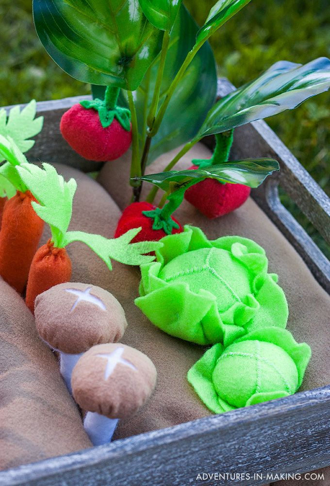 DIY Plantable Felt Vegetable Garden tutorial by Adventures-In-Making.com