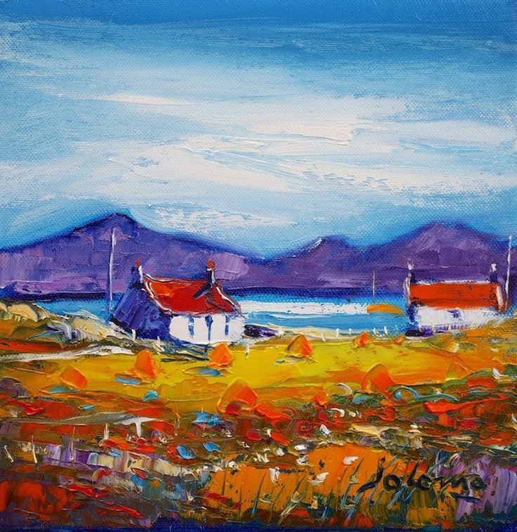 Jolomo 'Autumnlight South Uist' oil on canvas 10x10ins