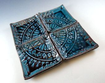 Decorative Plates in Turquoise Batik Stamp - Porcelain Dishes Set of 4 - Hand Built by Botanic2Ceramic - 934