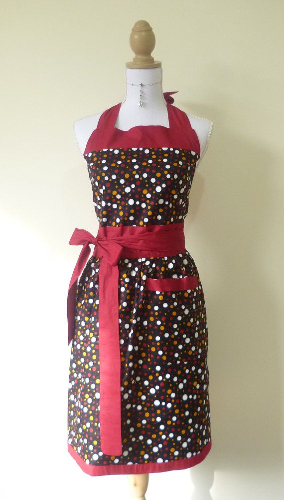 Cute Retro Full Bib Apron - Multi Colored Dot and Black with Maroon Trim Resversible