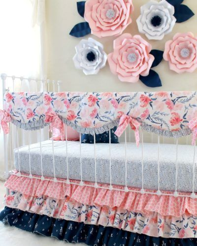 Looking to make a bold statement in your nursery?  Loving our blush pink and navy watercolor floral crib bedding set paired with these oversized paper wall flowers!