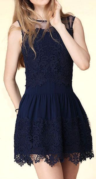 Navy Lace Chiffon Dress ♥