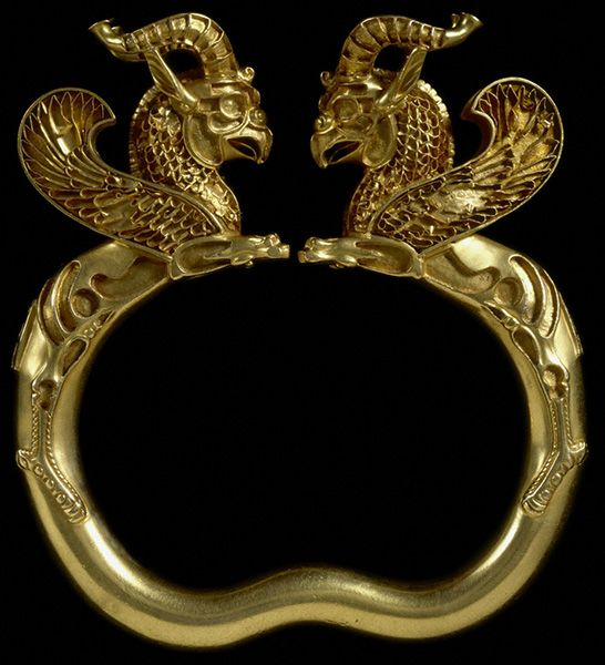 Armlet with Griffins, From the Oxus Treasure, Achaemenid, 500–330 B.C. Gold, 12.3 x 11.6 x 2.6 cm. Image courtesy of and © The Trustees of the British Museum (2013). All rights reserved