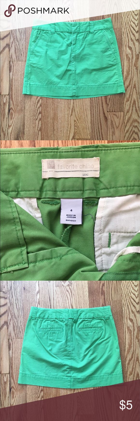 "Bright green mini skirt Super cute, bright green, chino/khaki style mini skirt from Gap Outlet. Such a fun green fir spring & summer! The color is more of yellow-green in person, 2nd picture is better idea of color in person - it's really cute & fun. 15"" long. Gap Outlet Skirts Mini"
