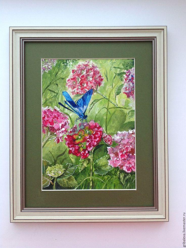 Купить Картина в раме Голубая стрекоза розовая гортензия летний пейзаж - розовый, картина в подарок