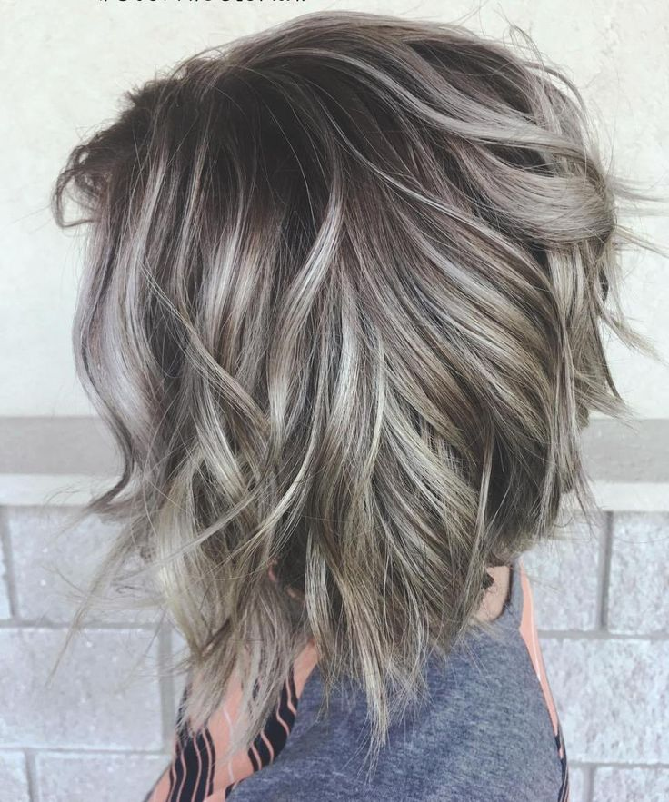 Gray Brown Inverted Bob Shag