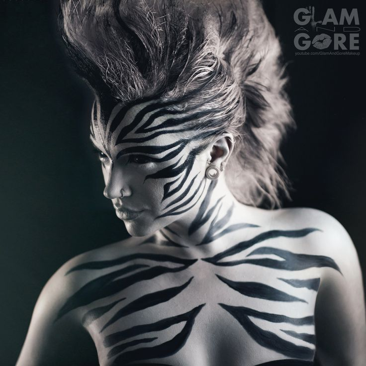 Zebra makeup and mohawk.  For makeup tutorials and other looks: www.youtube.com/GlamAndGoreMakeup www.instagram.com/mykie_