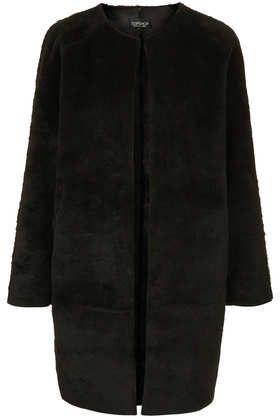 Faux Fur Bonded Throw On Coat