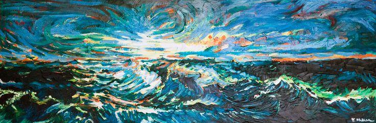 Búrlivé more, olej na kartóne 40 x 120 cm, Pavel Huszár, Banská Bystrica, Slovakia
