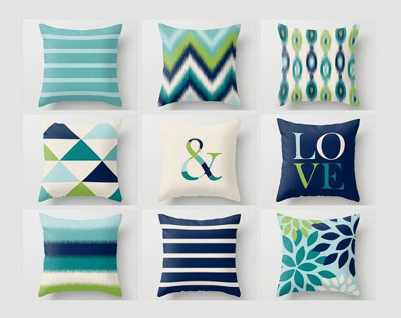 Navy And Teal Throw Pillows: Throw Pillow Covers, Navy Teal Aqua Beige Green, Home