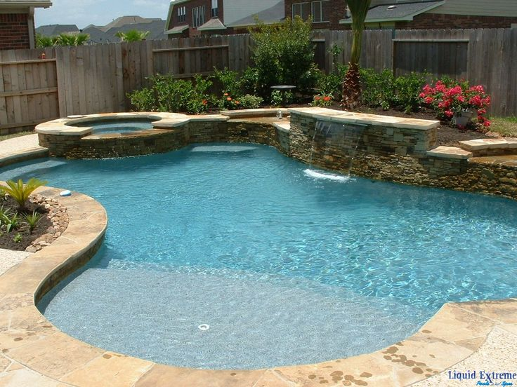 We Like This Pool Shape Coping Waterfall Spa Amp Brick