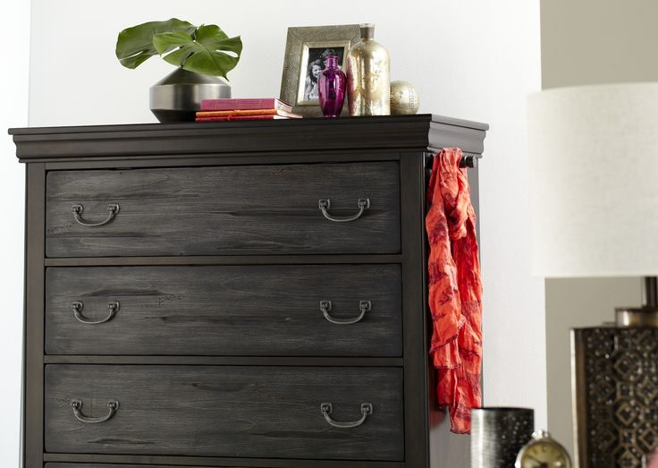 The two tone panelling in this piece creates a nice point of difference for any bedroom - full extension runners on all furniture pieces.   Pictured: Bordeaux Five Drawer Tallboy.