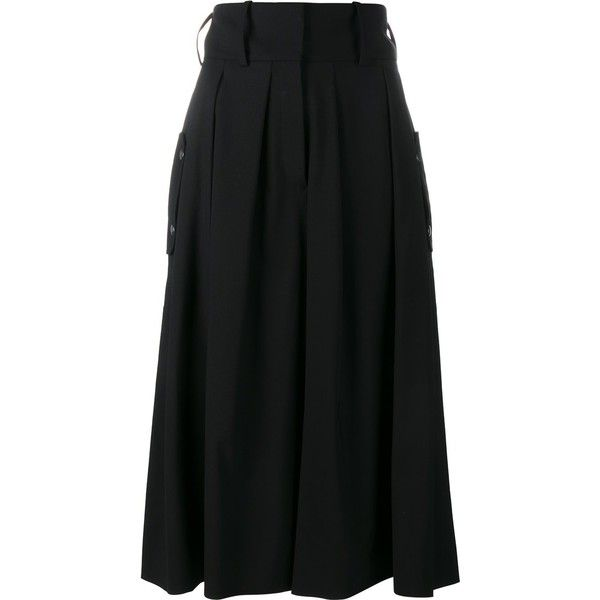J.W.Anderson pleat front culottes ($310) ❤ liked on Polyvore featuring pants, capris, black, wide leg cropped trousers, high-waisted wide leg pants, cropped pants, pleated pants and wide-leg trousers