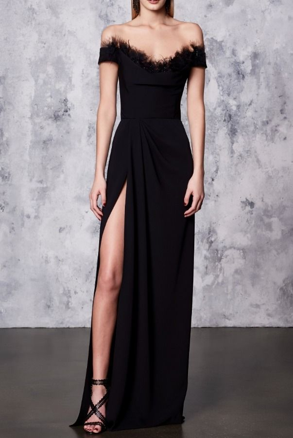 cb9ab99c51 Marchesa Notte Black Off the Shoulder Crepe High Slit Gown | Poshare ...
