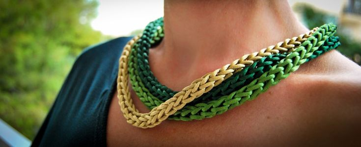Handmade necklace with green satin cord!