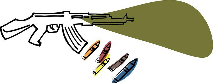 """""""I colori della guerra"""" di Luca Maluta   I COLORI DELLA GUERRA  di Mascia V.  La guerra è nera come il buio.  Le bombe sono grigie.  Le armi sono marroni.  La morte è bianca.  La tristezza delle persone è grigio scuro.  Le case distrutte sono marroni.  Gli aerei che portano le bombe sono verde scuro.  Se io fossi una fata dipingerei tutto questo  di colori vivaci per far finire la guerra"""