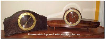 2 επιτραπέζια ξύλινα ρολόγια από την δεκαετία του 50
