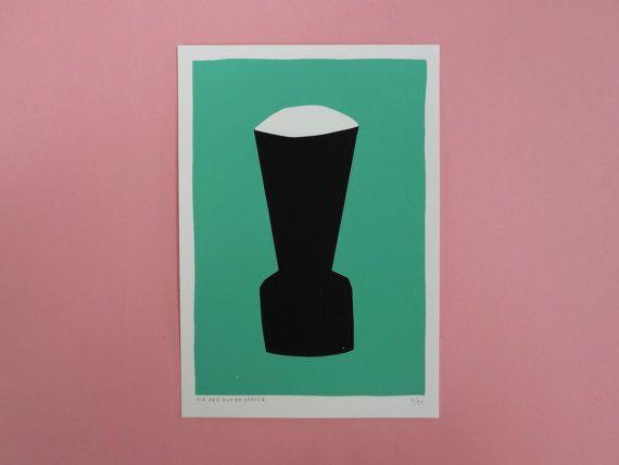 A black vase screen print