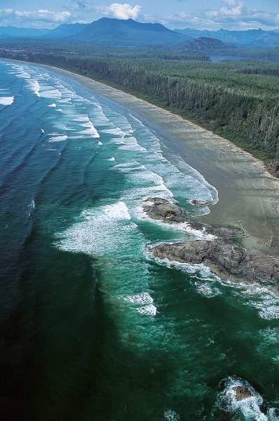 Aerial view of Long Beach in Pacific Rim National Park near Tofino. Destination BC / Russ Heinl
