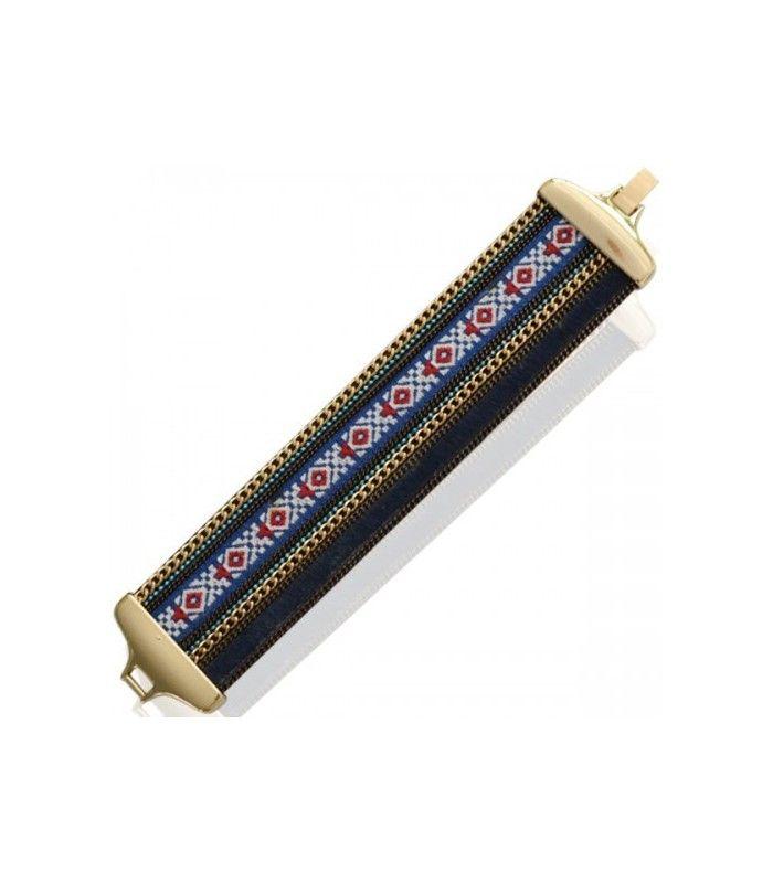 Brede blauwe armband met aztec print en goudkleurige accenten. Lengte van de armband is circa 17 cm. De mooiste Armbanden koop je online Snelle levering Trendy en moderne Armbanden Blauwe armbanden...